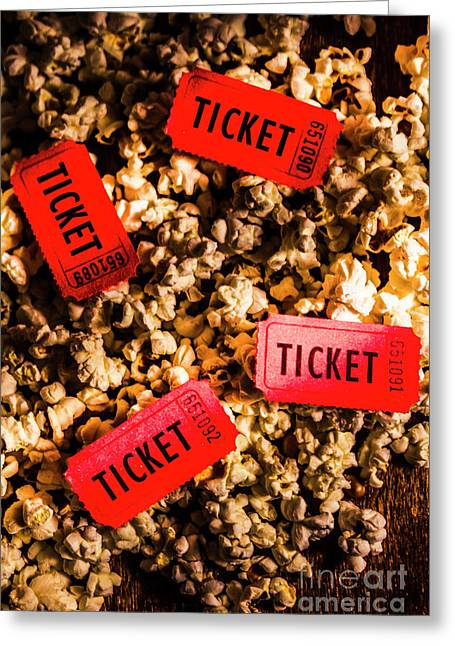 Movie Tickets On Scattered Popcorn Greeting Card by Jorgo Photography - Wall Art Gallery