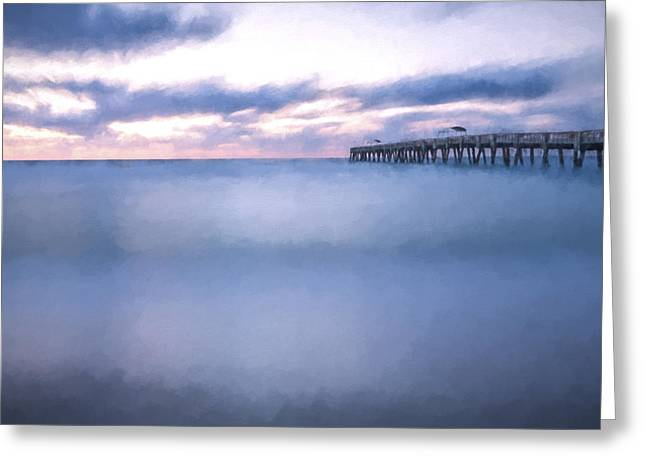 Moving Along The Pier II Greeting Card by Jon Glaser