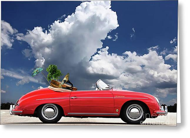 Moving Day, 1958 Red Porsche 356a, 1600 Speedster Greeting Card