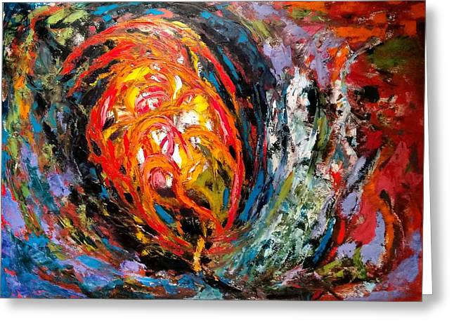 Greeting Card featuring the painting Moving Energy by Nicolas Bouteneff