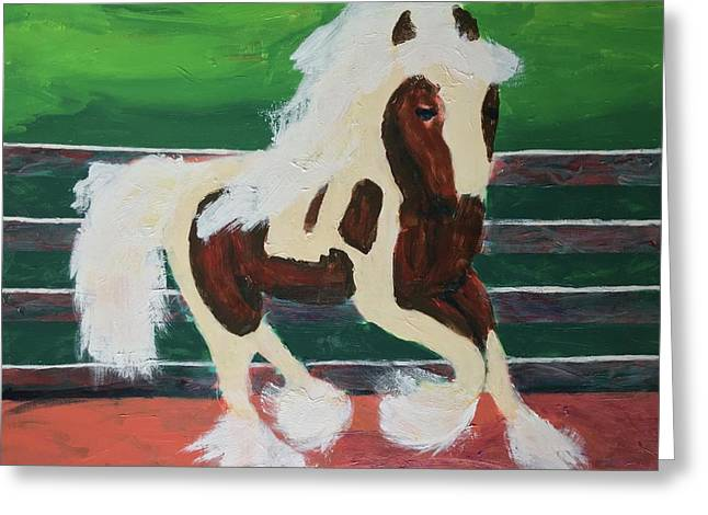 Greeting Card featuring the painting Moving Horse by Donald J Ryker III