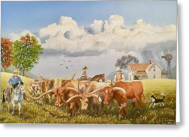 Moving The Herd Greeting Card