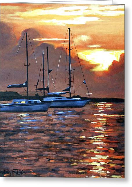 Moving Toward The Light Greeting Card by Anthony Falbo