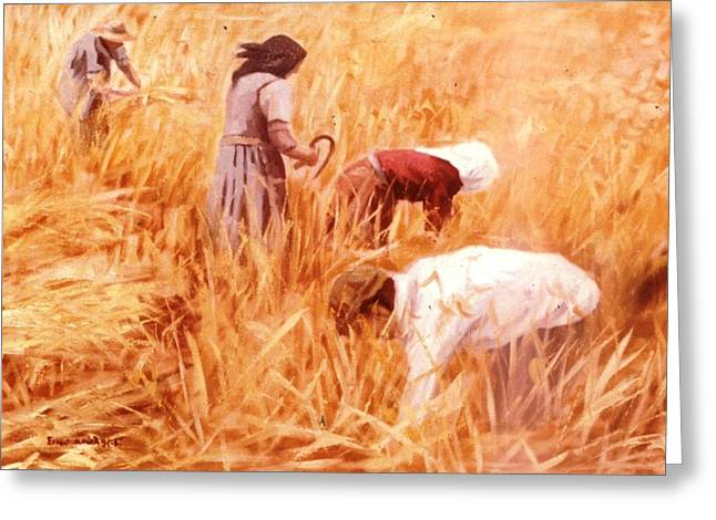 Mowing Harvest Greeting Card by George Siaba