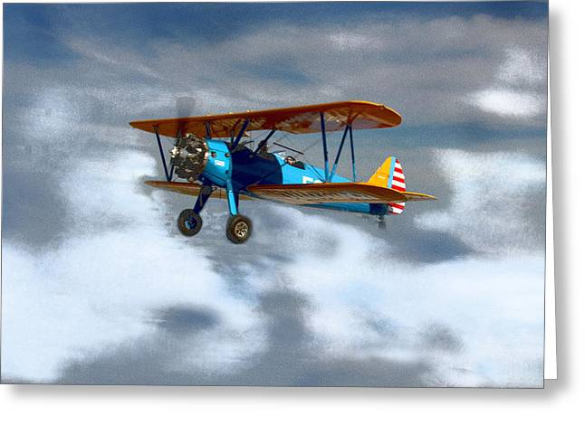 Mprints - Into The Wild Blue Yonder Greeting Card by M  Stuart