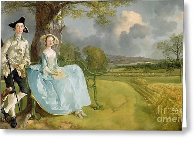 Mr And Mrs Andrews Greeting Card by Thomas Gainsborough