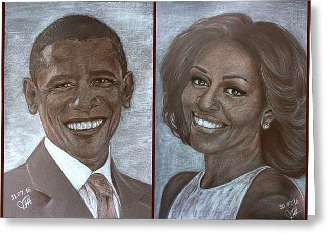 Mr And Mrs Obama Greeting Card by Tetiana Rudnevska