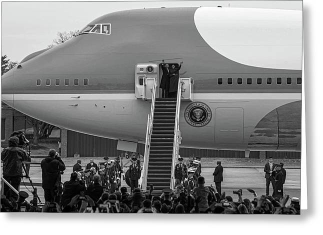 Mr And Mrs Obama Waving On Air Force One Waving Goodbye After Leaving Office Greeting Card by Valentina Lopez