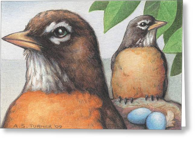 Mr And Mrs Robin Are Expecting Greeting Card by Amy S Turner