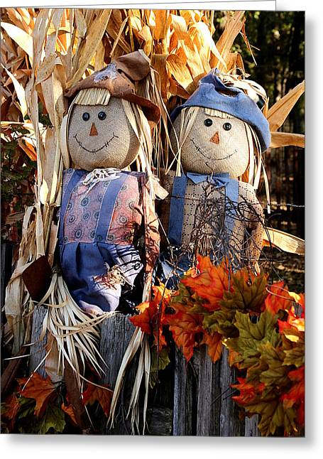 Greeting Card featuring the photograph Mr. And Mrs. Scarecrow by Sheila Brown