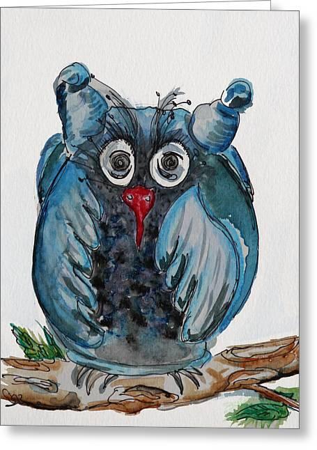 Mr. Blue Owl Greeting Card
