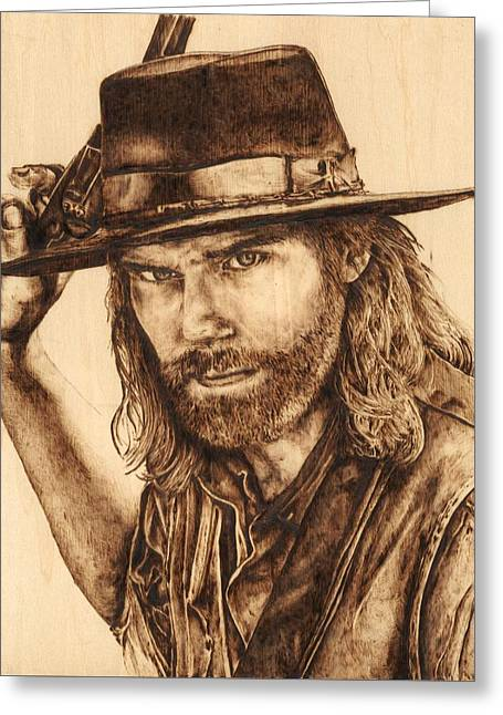 Mr. Bohannon, Hell On Wheels Greeting Card by Laura Lobner
