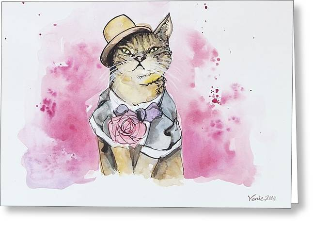 Mr Cat In Costume Greeting Card by Venie Tee