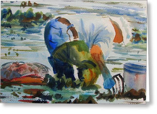 Mr. Clam Digger Greeting Card by Linda Emerson