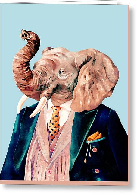 Mr Elephant Greeting Card by Animal Crew
