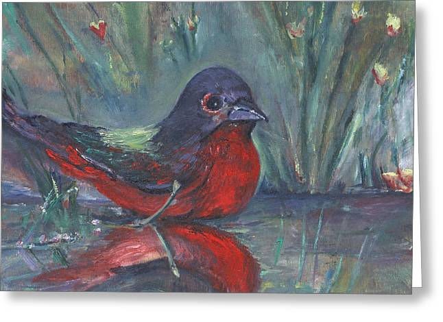 Greeting Card featuring the painting Mr. Finch by Helena Bebirian