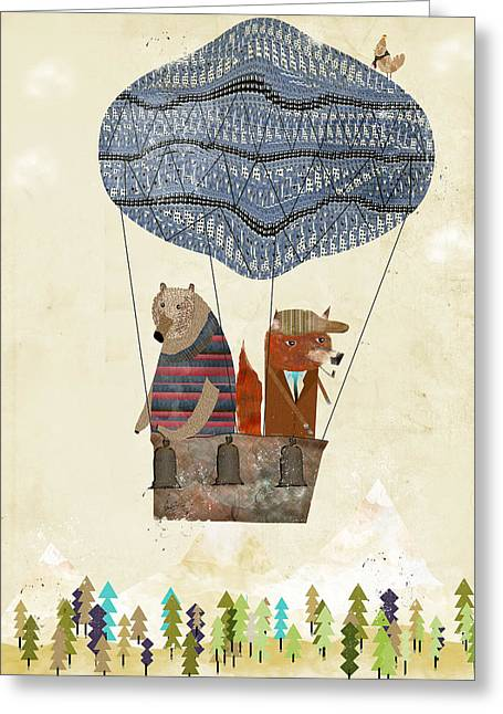 Mr Fox And Bears Adventure  Greeting Card