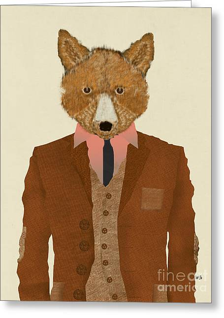 Greeting Card featuring the painting Mr Fox by Bri B