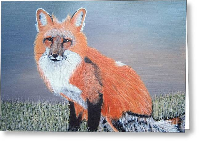 Greeting Card featuring the painting Mr. Fox by Tracey Goodwin