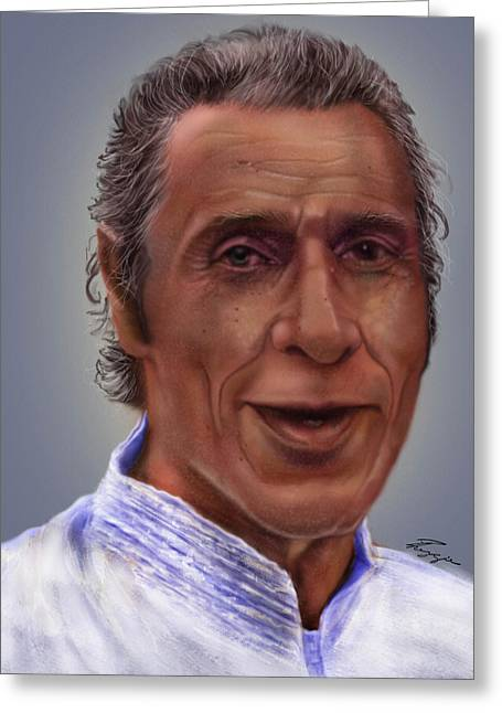 Hispanic Greeting Cards - Mr. Garay portrait Greeting Card by Reggie Duffie