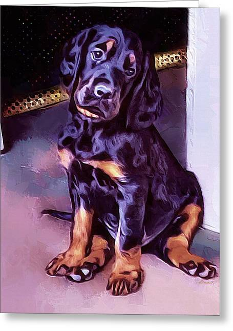 Mr Gordon Setter Pup Greeting Card by Scott Wallace