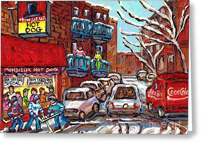 Mr Hot Dog Restaurant Montreal Memories Hockey Game Winter Street Scene Canadian Art Carole Spandau  Greeting Card