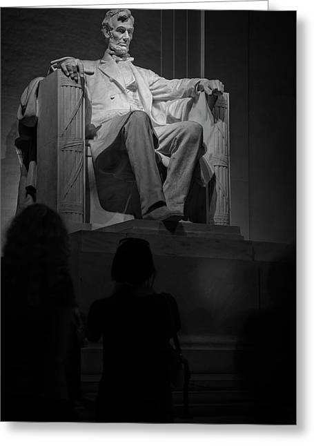 Mr Lincoln In His Chair In Black And White Greeting Card by Chrystal Mimbs