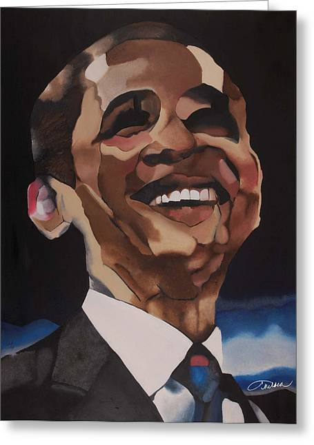 Mr. Obama Greeting Card by Chelsea VanHook