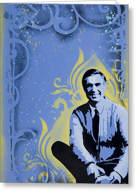 Stencil Spray Greeting Cards - Mr. Rogers Greeting Card by Iosua Tai Taeoalii