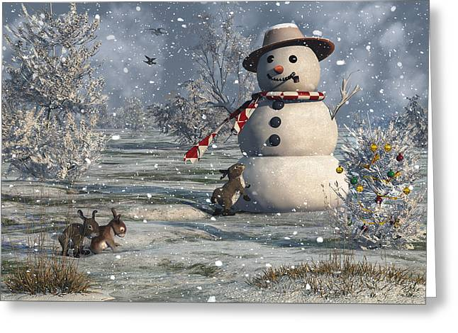 Mr Snowman Greeting Card by Mary Almond