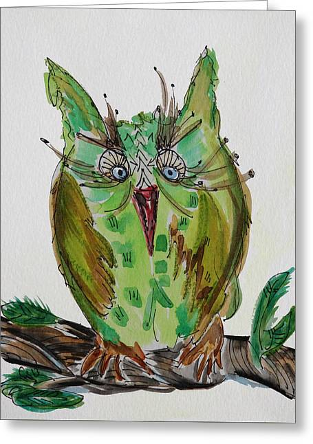 Mr.lime Owl Greeting Card