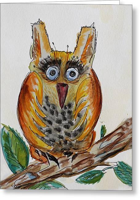 Mr.orange Owl Greeting Card