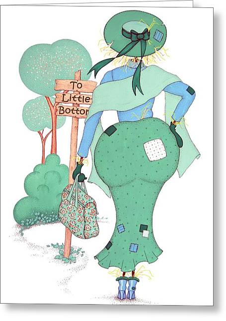Mrs Bottom Scarecrow Greeting Card by Sandra Moore