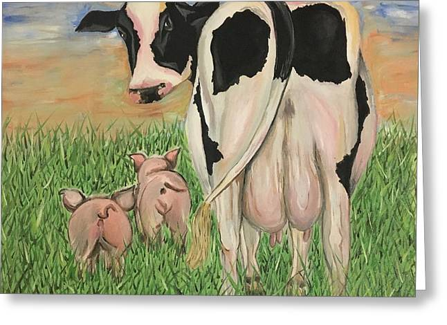 Mrs. Cow Got Milk? Greeting Card by Valeria Silva