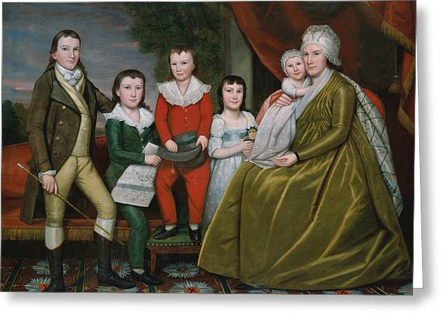 Mrs. Noah Smith And Her Children Greeting Card