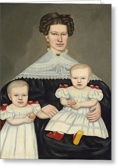 Mrs Paul Smith Palmer And Her Twins Greeting Card