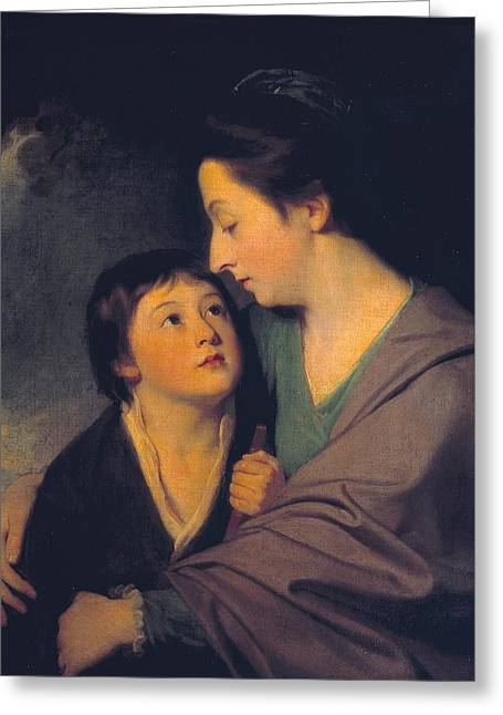 Mrs Richard Cumberland And Her Son Charles Greeting Card