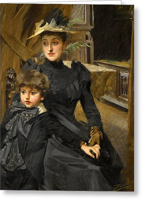 Mrs Weguelin And Her Son Greeting Card by Anders Zorn
