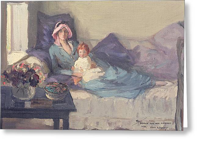 Mrs Winston Churchill With Her Daughter Sarah Greeting Card by Sir John Lavery