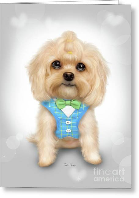 Greeting Card featuring the painting Mr.toby Waffles by Catia Lee