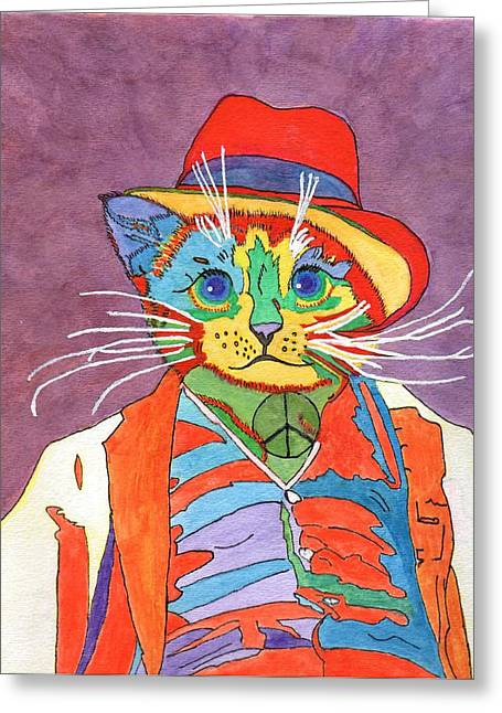 Mr.wisker For Peace Greeting Card by Connie Valasco