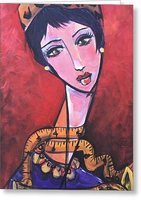 Greeting Card featuring the painting Ms. Bimba Fashionable Seamstress by Laurie Maves ART