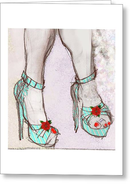 Ms Cindy's Shoes With Poinsettas Greeting Card