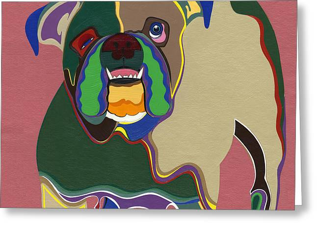 Ms Diva The English Bulldog Greeting Card by Ruby Persson