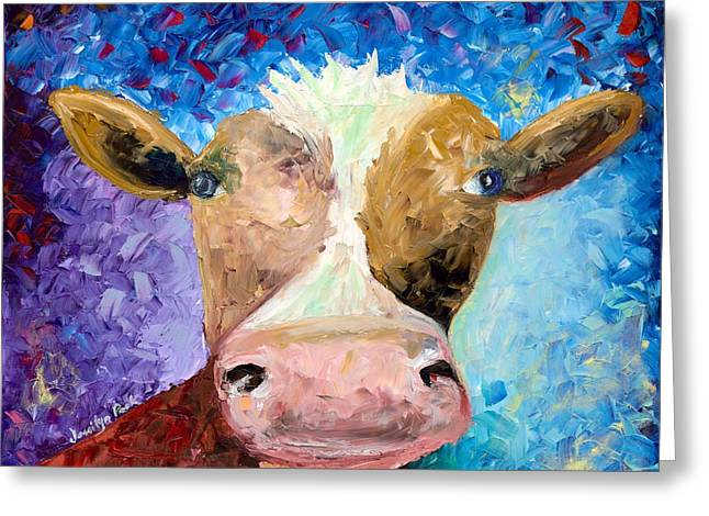 Ms. Moo Greeting Card by Jessilyn Park