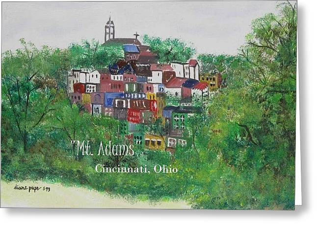 Mt Adams Cincinnati Ohio With Title Greeting Card