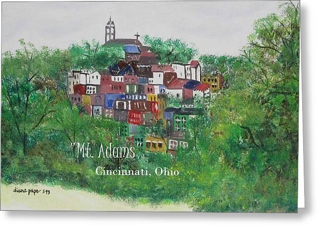 Mt Adams Cincinnati Ohio With Title Greeting Card by Diane Pape