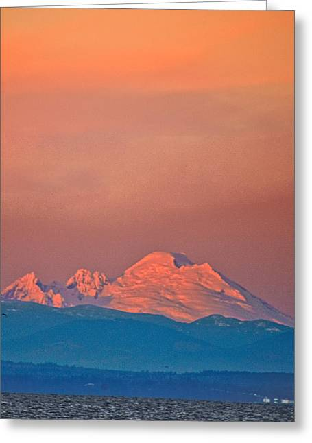 Wa Greeting Cards - Mt Baker from Edmonds Harbor Greeting Card by Alvin Kroon