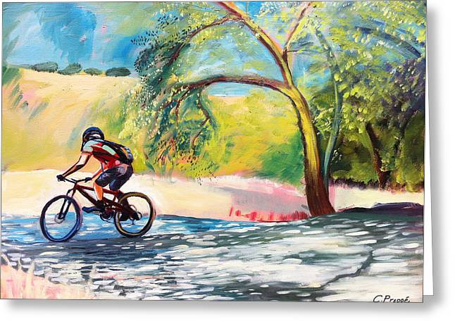 Mt. Bike With Tree Shadows Greeting Card by Colleen Proppe