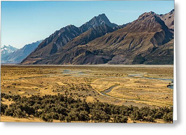 Greeting Card featuring the photograph Mt Cook And Tasman River  by Gary Eason